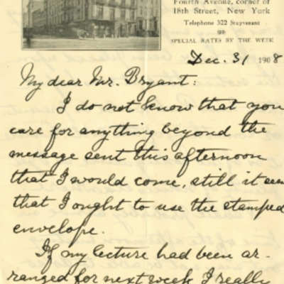 Letter from Annie Peck to Henry G. Bryant 1908