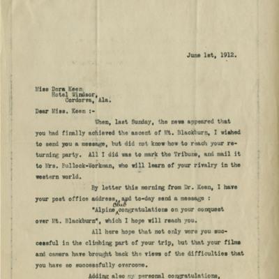 Dora Keen Letter from Harrington Putnam