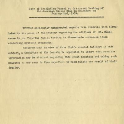 American Alpine Club Mt. Huascaran Resolution 1909
