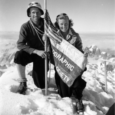Brad and Barbara Washburn at the Summit of Mt. Bertha