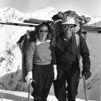 Brad and Barbara Washburn on Mt. Hayes