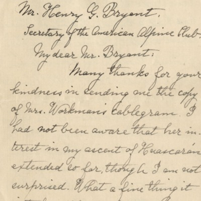 Letter from Peck to Henry G. Bryant 1909
