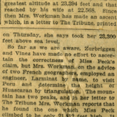 Andean And Other Summits from NY Tribune