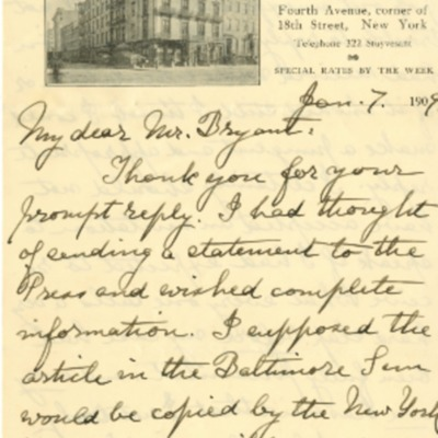 Peck's Letter to Bryant Requesting Information