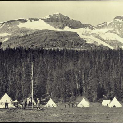 South peak of Mt. Odaray. O'Hara Camp of Canadian Alpine Club.