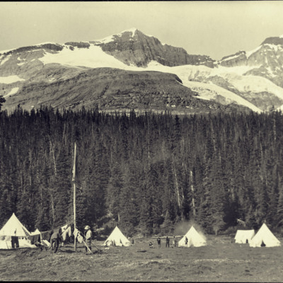 South peak of Mt. Odaray. O'Hara Camp of Canadian Alpine Club.