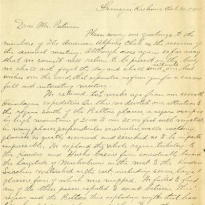Workman Putnam Letter