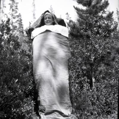 A.J.G. standing in sleeping bag
