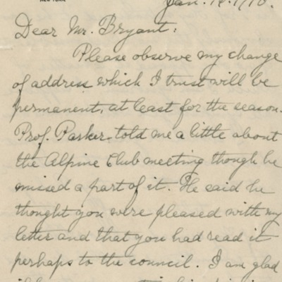 Peck's letter to Bryant about the 1909 Resolution