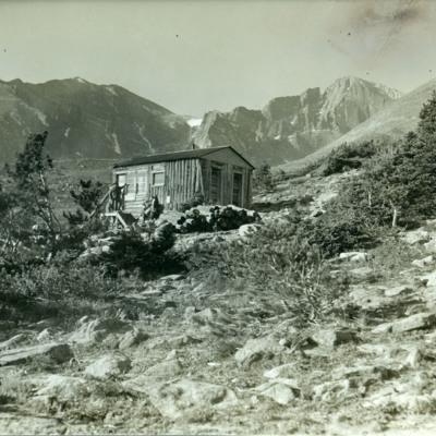Timberline cabin, Longs Peak trail 11,050 ft. Longs Peak to right.