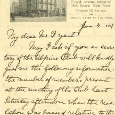 Peck's letter to Henry G. Bryant of January 4th, 1909