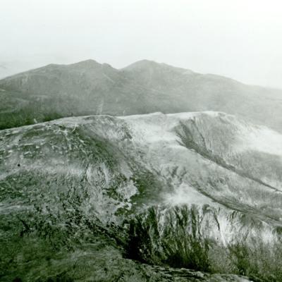 Mt. Washington showing Summit House, Mts. Adams and Madison in distnace.