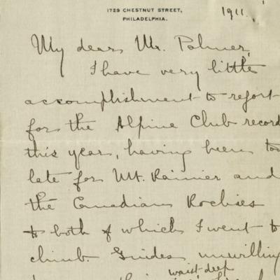 Dora Keen Letter to Howard Palmer 1911