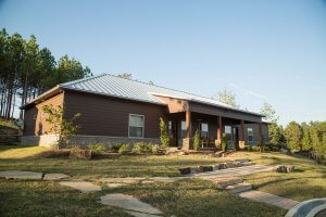 The cabins provide a comfortable home-like environment during residential treatment.