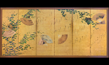 Waka poems over autumn grasses and morning glories with scattered fans
