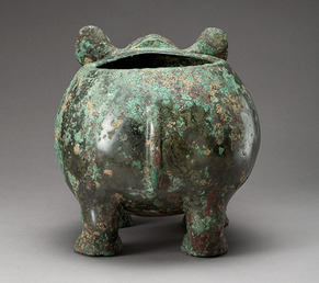 Ritual vessel in the shape of a rhinoceros detail