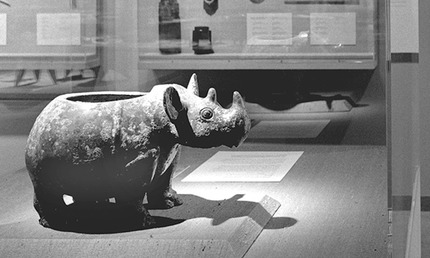 The rhinoceros vessel surveys the China galleries