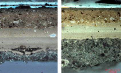 Comparing these two microscopic samples of lacquer help conservators determine how to clean this table top The bright blue-white layers at the upper left are restoration varnish and will be removed