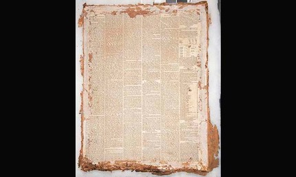 Reverse of the painting lined with a nearly intact newspaper from 1857