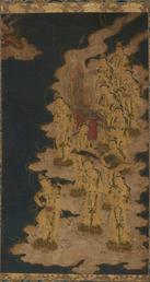 Bodhisattvas descending from paradise detail