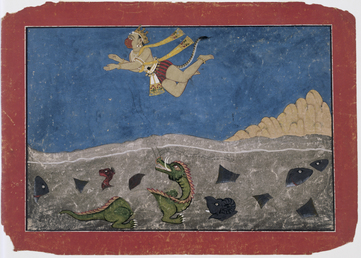 Hanuman leaps across the ocean
