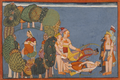 Sita in the forest grove left Rama and Lakshmana stricken right folio from the Shangri Ramayana