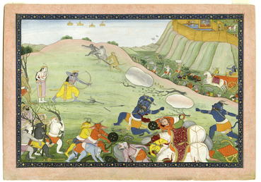 Rama kills the demon warrior Makaraksha in combat from a manuscript of the Ramayana