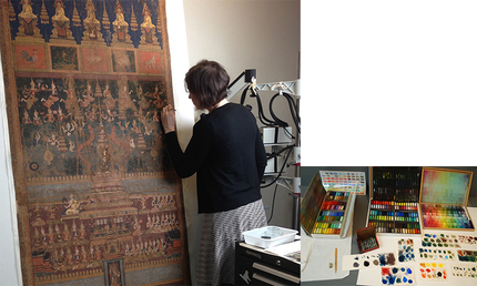 Jennifer Parson coloring the losses of Five Buddha The colors were chosen from 450 shades of pastel