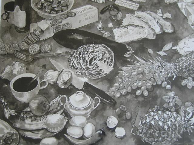piirustuksia sarjasta lautasella