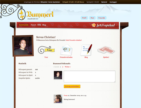 Bummerl — Screenshot community site