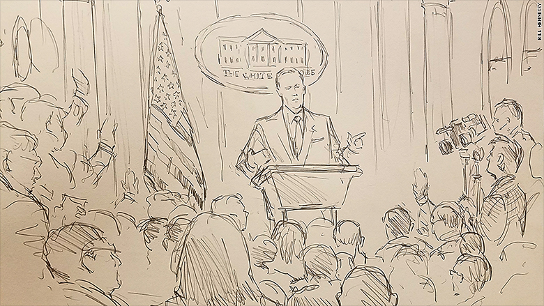 CNN Sent A Sketch Artist to Today's White House Briefing