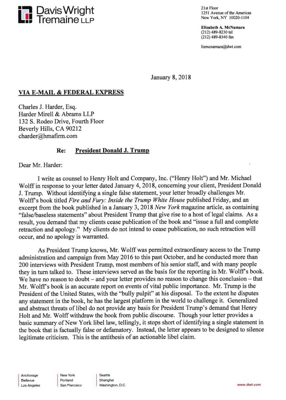 fire and fury publisher responds to trump u2019s cease and