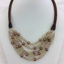 Matte Glass Bead with Pearl Necklace