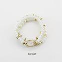 Three Row Stone Beads Stretch Bracelet