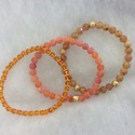 Semi Precious Three Stretch Bracelets