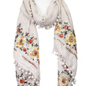Floral Embroidery Oblong Scarf