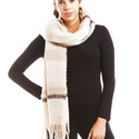 Plaid Boucle Oblong Scarf with Fringes