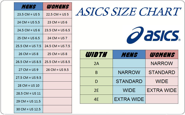 Asics Running Shoes Sizing Guide