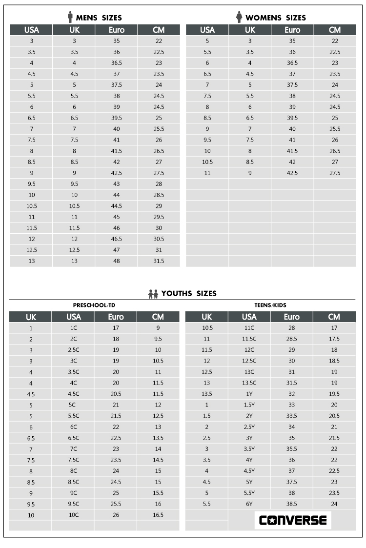 Converse Unisex Sizing Guide Pictures To Pin On Pinterest