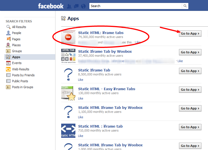 Static HTML  iframe tabs   Facebook Search