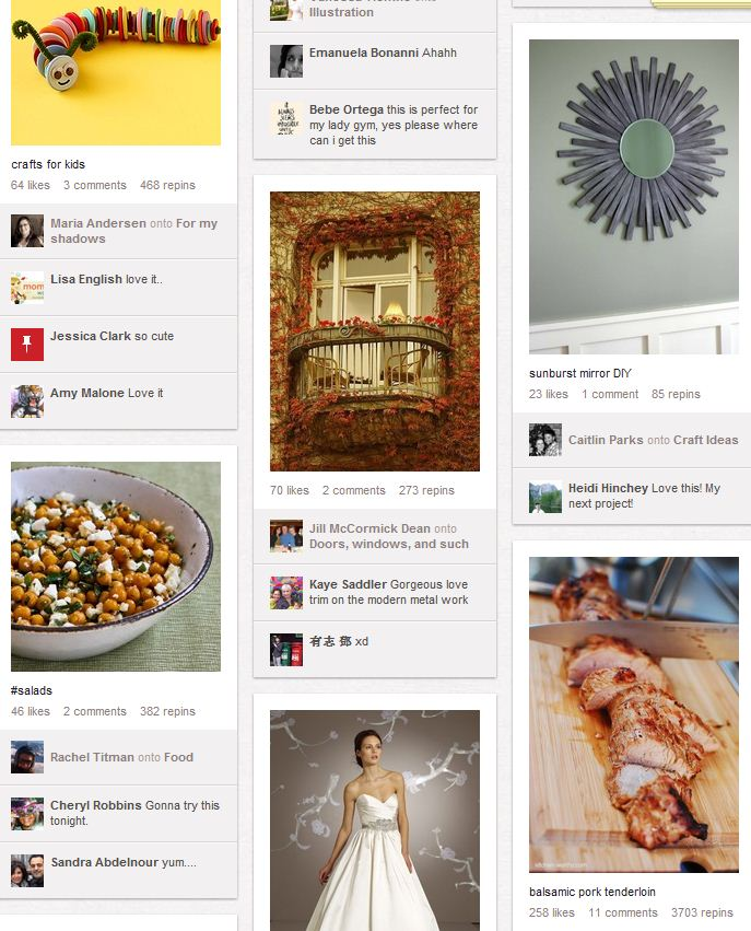 A screenshot of Pinterest