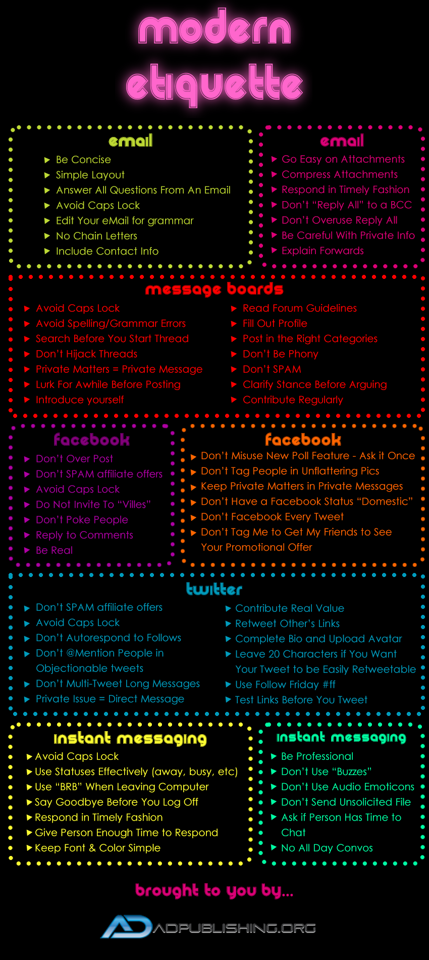 Online etiquette infographic guide