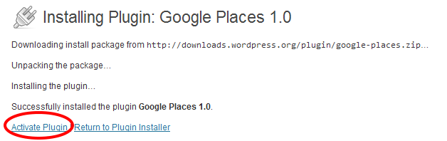 activate google places plugin