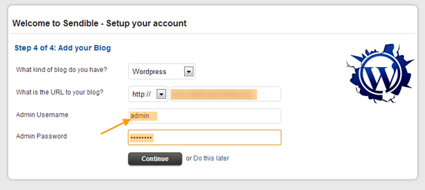 your blog login details