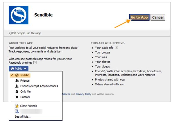 facebook app access