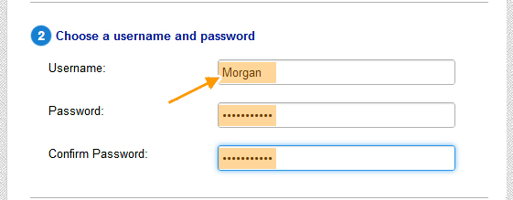 choose username and password