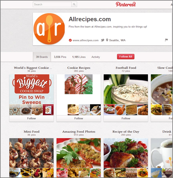 Example Pinterest business page