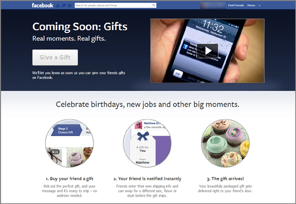 Facebook gifts page announcement