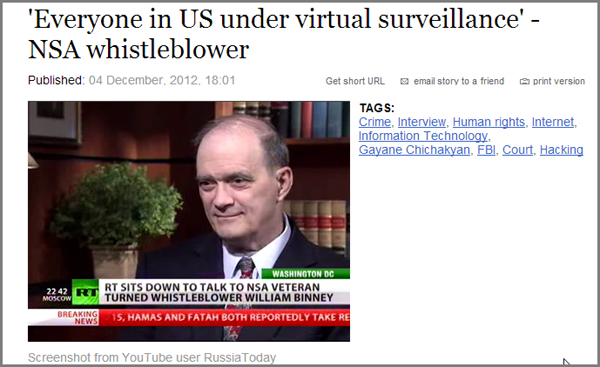 NSA whistle blower Walter Binney