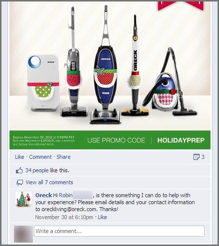 Oreck Facebook page